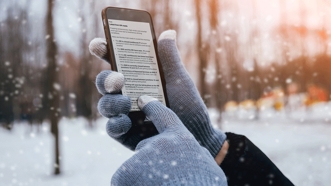 Smartphone in the snow